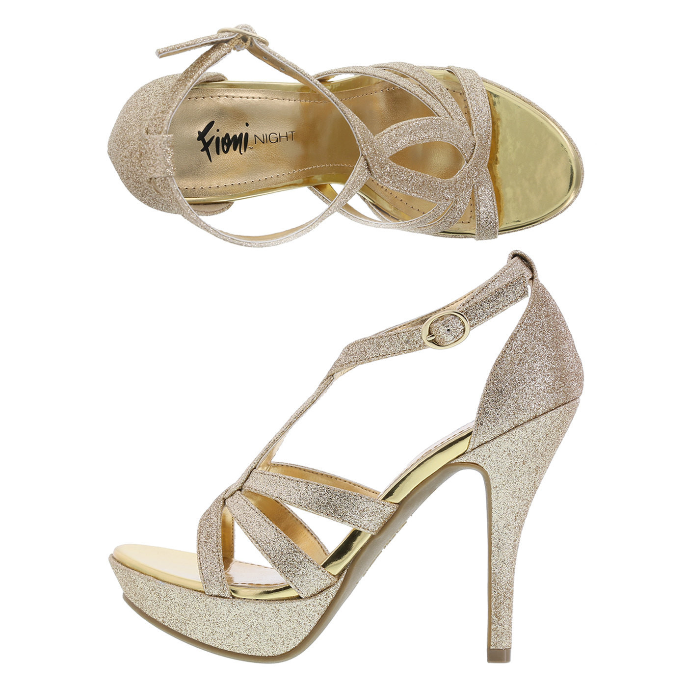 Womens platform dress heels , High heel sandals Size 9 medium Gold and Silver