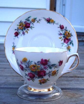 Primary image for Colclough Red & Yellow Roses Bone China Cup & Saucer