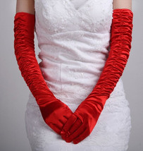 Bling Brides Ruched Elegant  Bridal Gloves ,Wedding Gloves - $15.99
