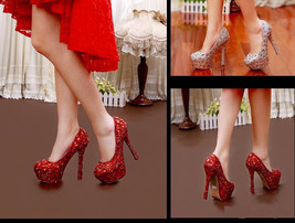 Wedding Bridal Pumps,Platform, Stiletto heels, Sexy Bling bridal shoes - $199.99
