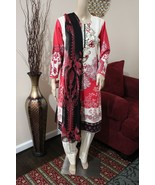 Pakistani  red Printed Straight Shirt 3-PC Lawn Suit w/ Threadwork ,Large - $54.45