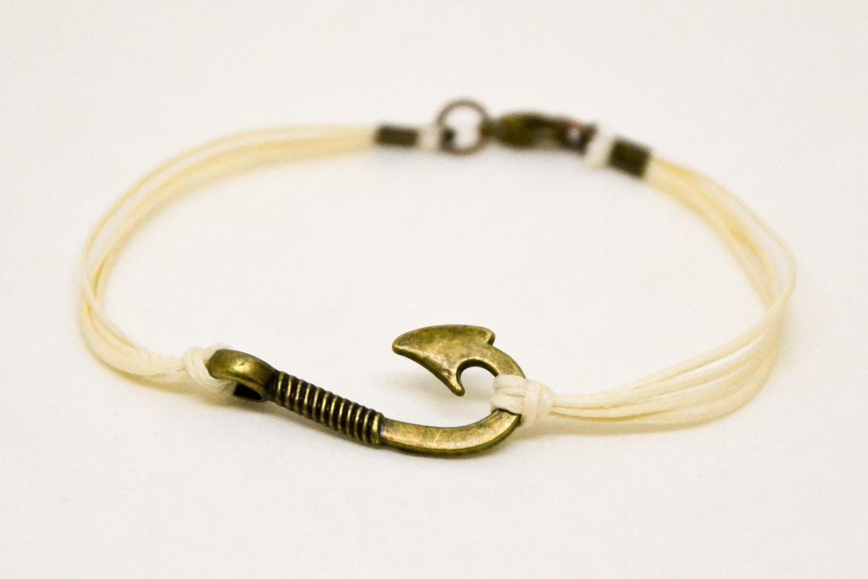 Men's bracelet, fish hook bracelet for men, beige cord with bronze hook, nautica image 2