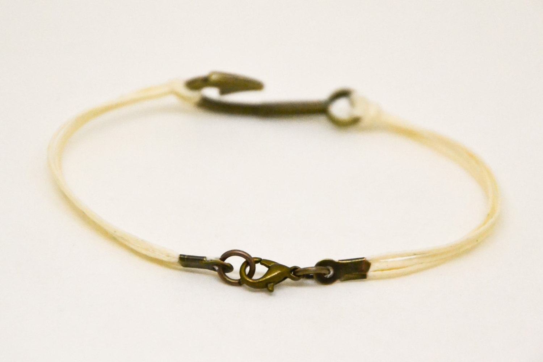 Men's bracelet, fish hook bracelet for men, beige cord with bronze hook, nautica image 3
