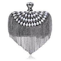Tassel Rhinestones Clutch Women Evening Bags Beaded Handbags with Pearls - $39.99