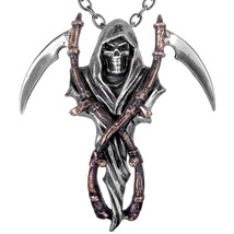 Alchemy Gothic 2-Tone Reaper Arms 21in English Pewter Scythe Pendant Nec... - $22.55