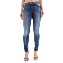 7 For All Mankind Women's High Waist Skinny w/ Squiggle in Distressed AU... - $117.81