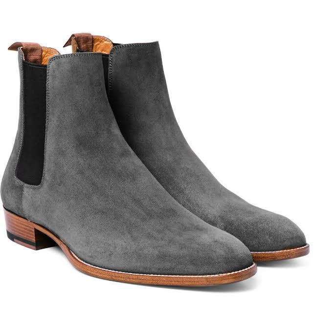 handmade men 39 s fashion gray chelsea boots men gray chelsea suede leather boot boots. Black Bedroom Furniture Sets. Home Design Ideas