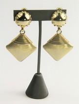 ESTATE VINTAGE Jewelry MODERNIST GOLD METAL DANGLE STATEMENT EARRINGS - $20.00