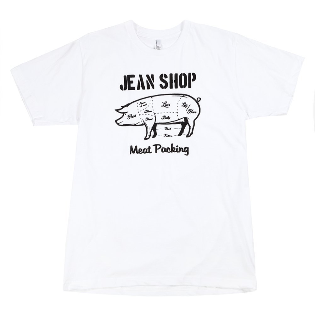 Jean Shop Men's Butcher Pig Tee JSMBPT WG White SZ L