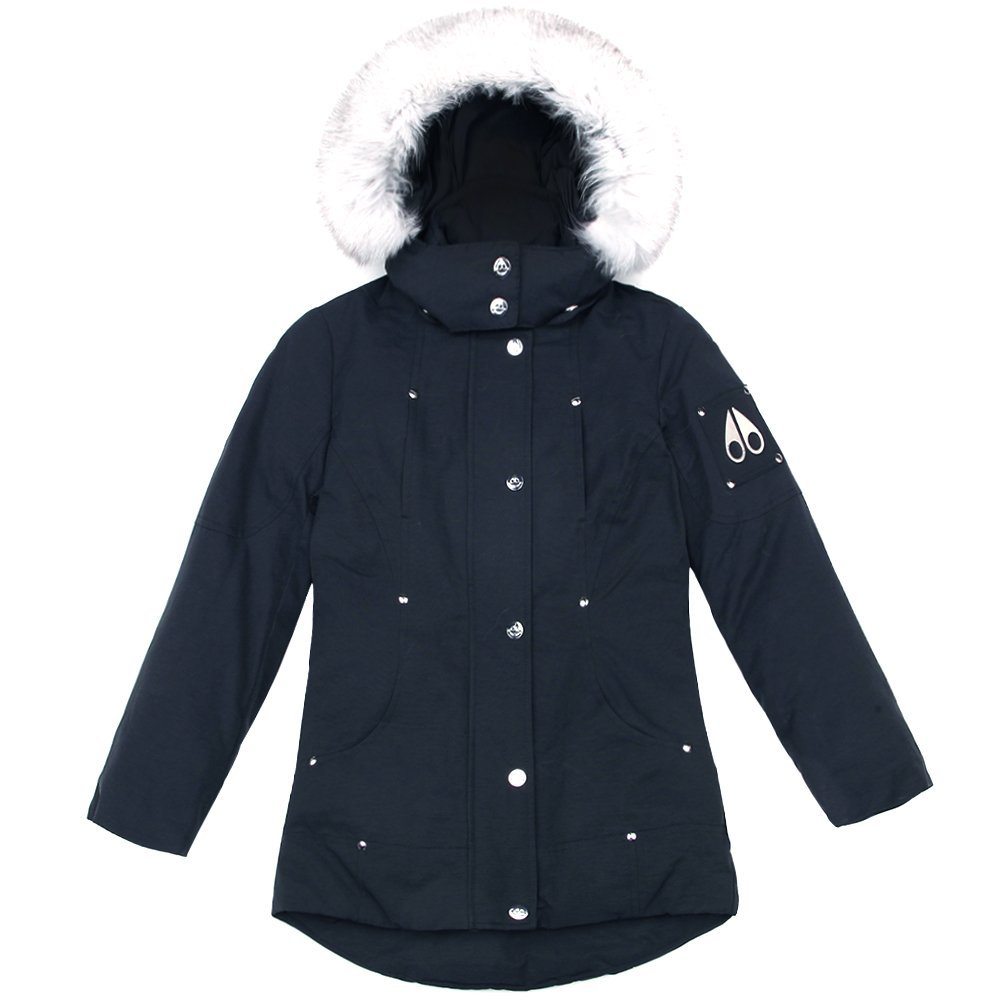 Moose Knuckles Girls Parka MK2231GP Navy/White Fur SZ 10