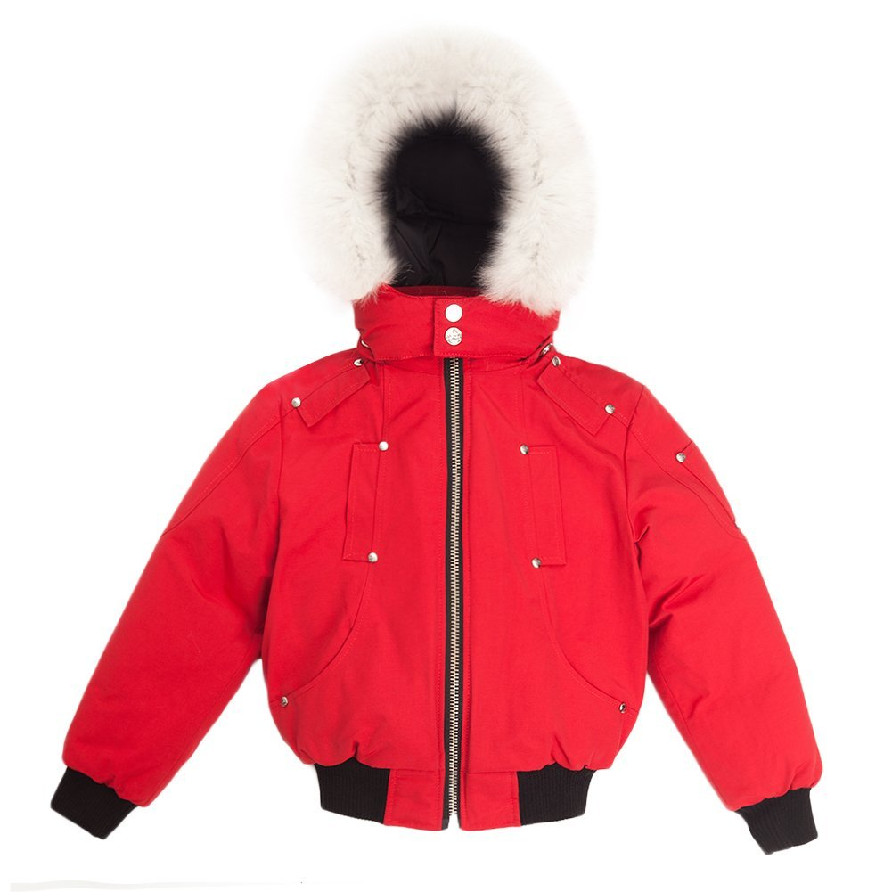 Moose Knuckles Boys Bomber Down Jacket MK2233BB Deep Red SZ 5