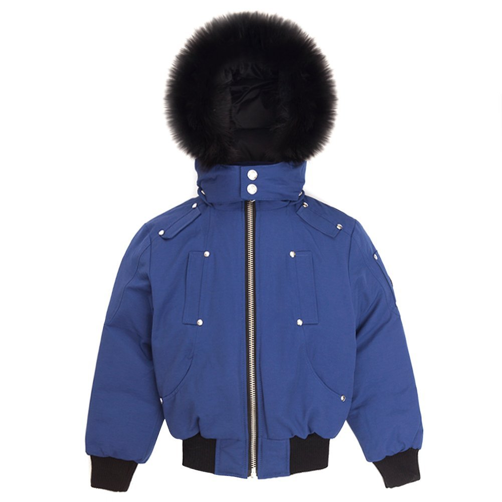 Moose Knuckles Boys Bomber Down Jacket MK2233BB Estate Blue/Black Fur SZ 5