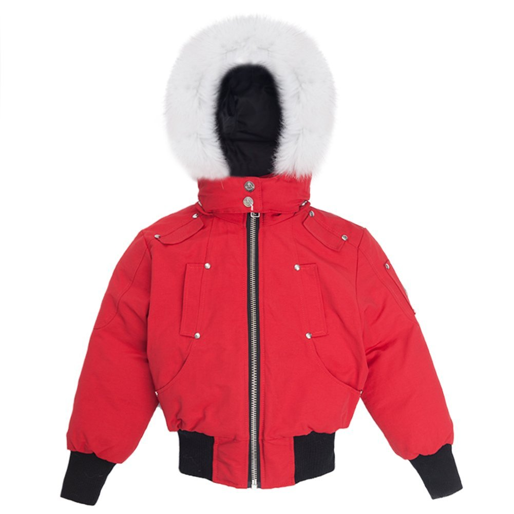 Moose Knuckles Girls Bomber Down Jacket MK2234GB Deep Red/White Fur SZ 4