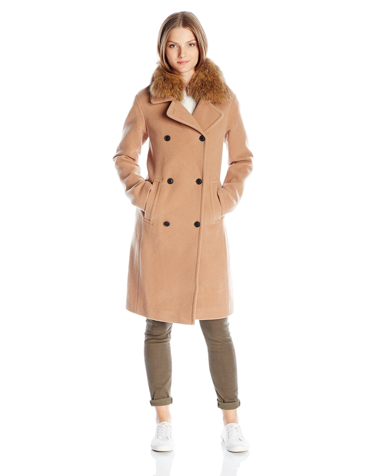 Soia & Kyo Women's Farrah-f6 Lux Wool Coat with Racoon Fur Collar, Honey, X-S...