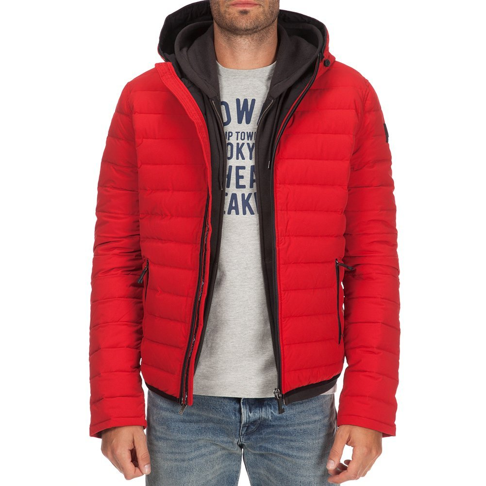 Moose Knuckles Men's Quilted Hoodie Jacket MK3646MQ Red SZ L