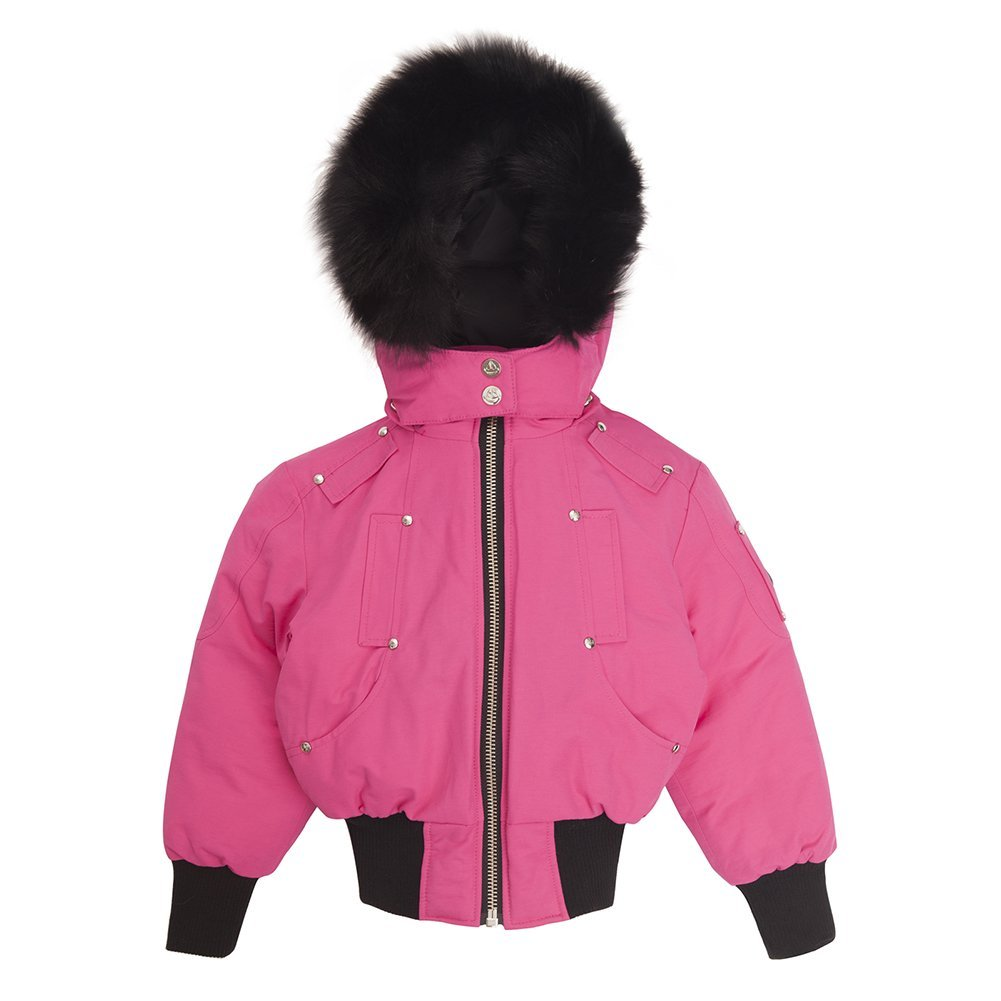 Moose Knuckles Girls Bomber Down Jacket MK2234GB Hot Pink/Black Fur SZ 4