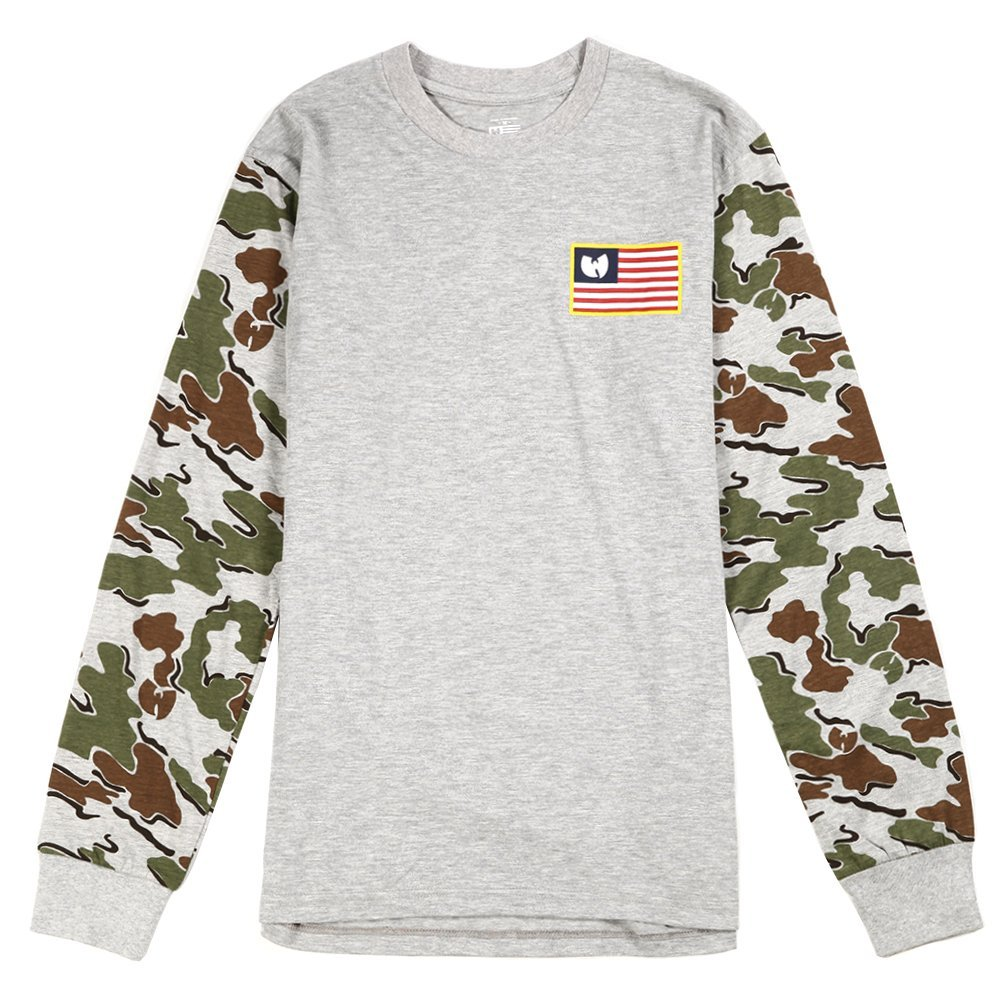 Wu-Tang Men's Iron Flag L/S Tee 44WU0701 Grey SZ M