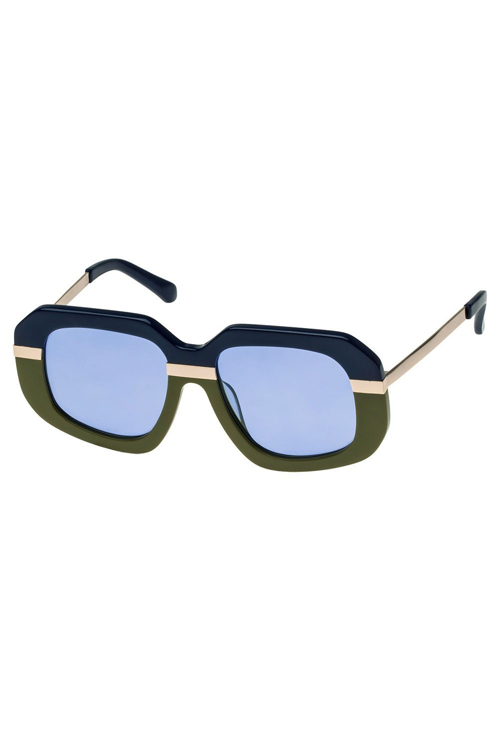Karen Walker Navy Olive Gold Creeper Sunglasses