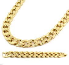 Gold Finish Thick 20mm Hip Hop Chain & Bracelet Mens Miami Cuban Necklac... - $28.70