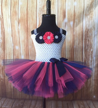 Ivory, Navy and Coral Girls Tutu Dress, Navy Flower Girl Dress, Navy Tutu - $40.00+