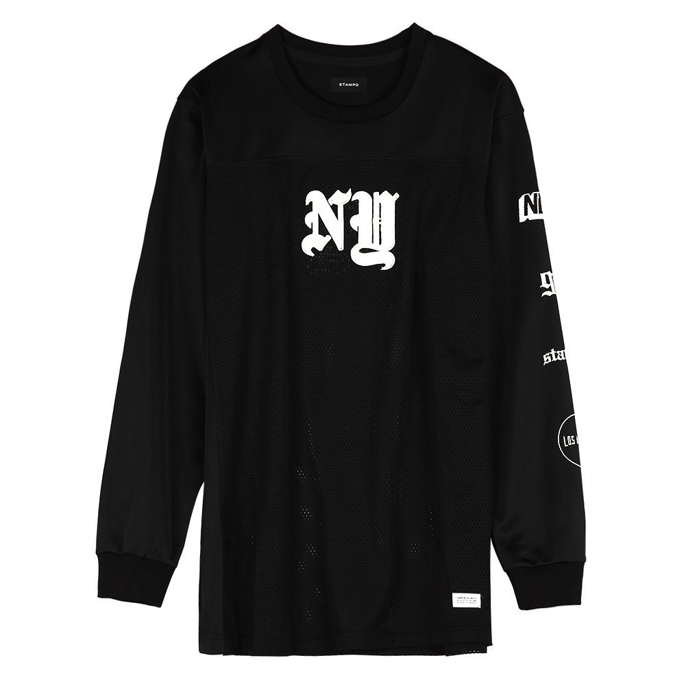 STAMPD Men's NY Jersey Panel Long Sleeve SLA-M305JS Black SZ S