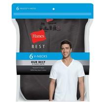 Hanes Best 6-Pack Black V-Neck T-shirt Size: M - $25.73