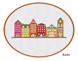 Cross Stitch Pattern Colorful Street  - $3.70