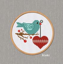 Cross Stitch Pattern Bird with heart  - $4.50