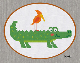 Cross Stitch Pattern Happy Crocodile - $3.70