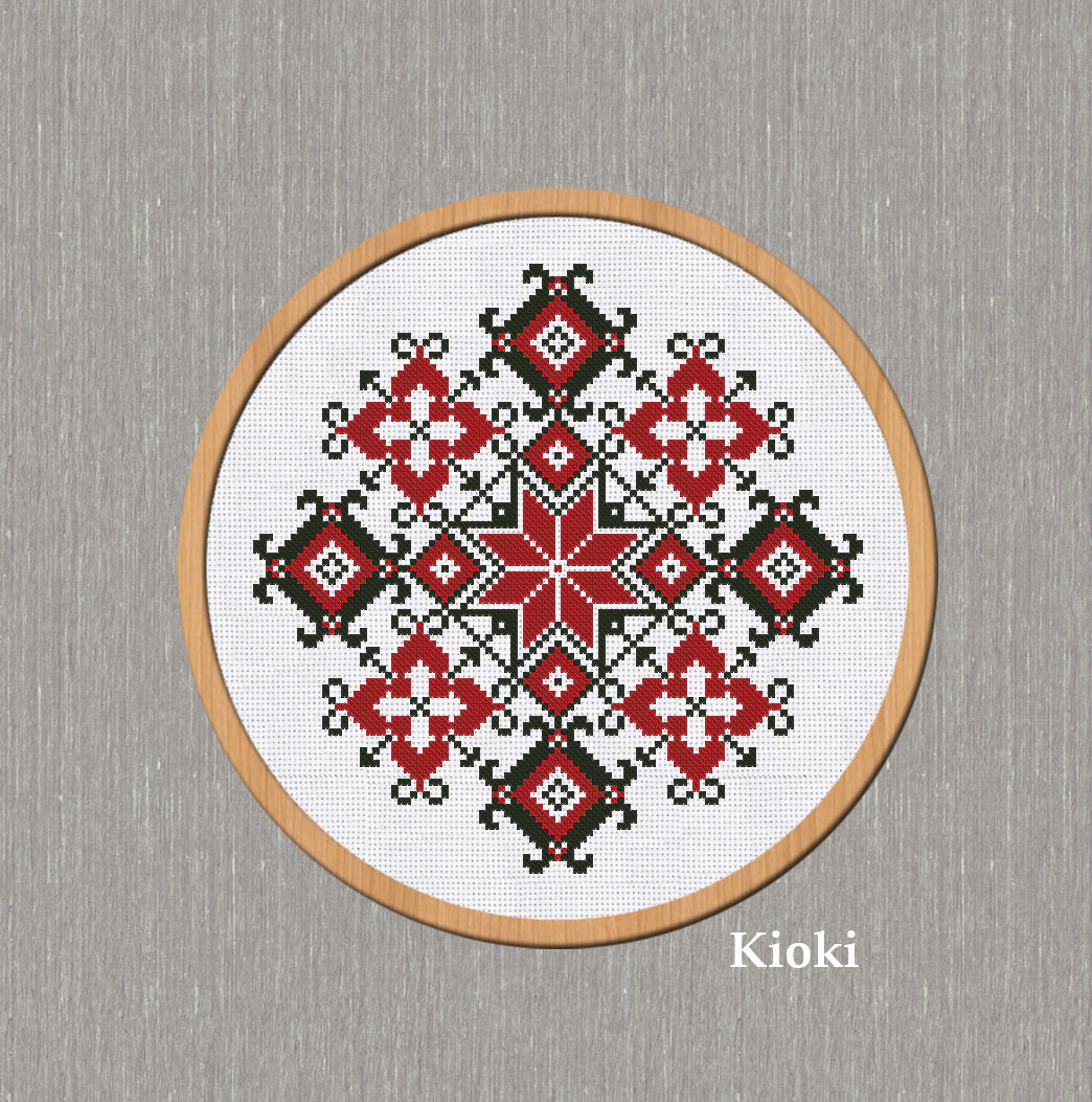 Cross Stitch Pattern Folk Red-Black Ornament