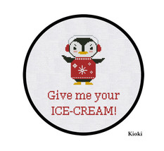 Cross Stitch Pattern Penguin and ice-cream  - $4.00