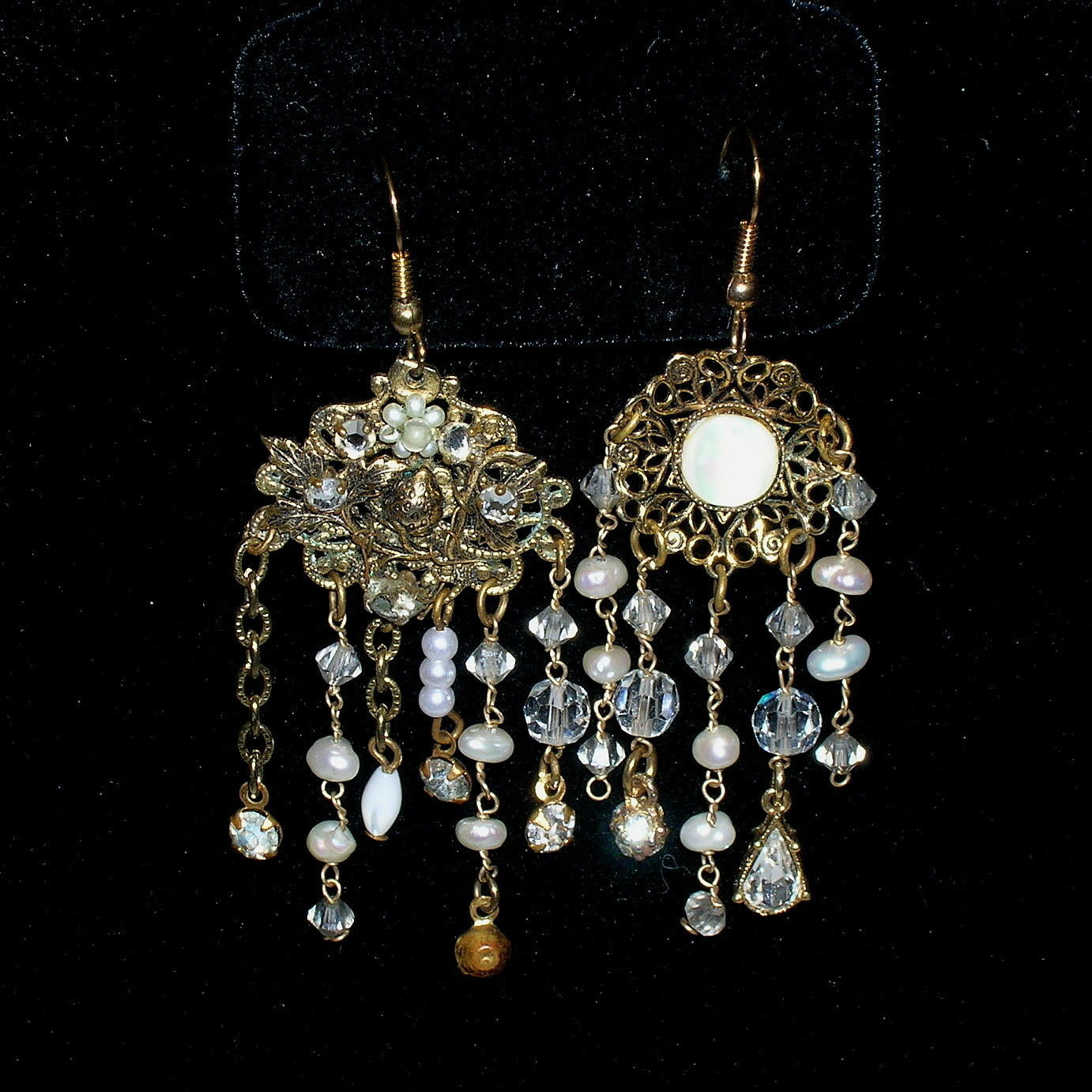 Vintage Asymmetrical Freshwater Pearl Filigree Festoon Necklace Earrings Set