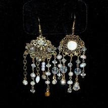 Vintage Asymmetrical Freshwater Pearl Filigree Festoon Necklace Earrings Set image 3
