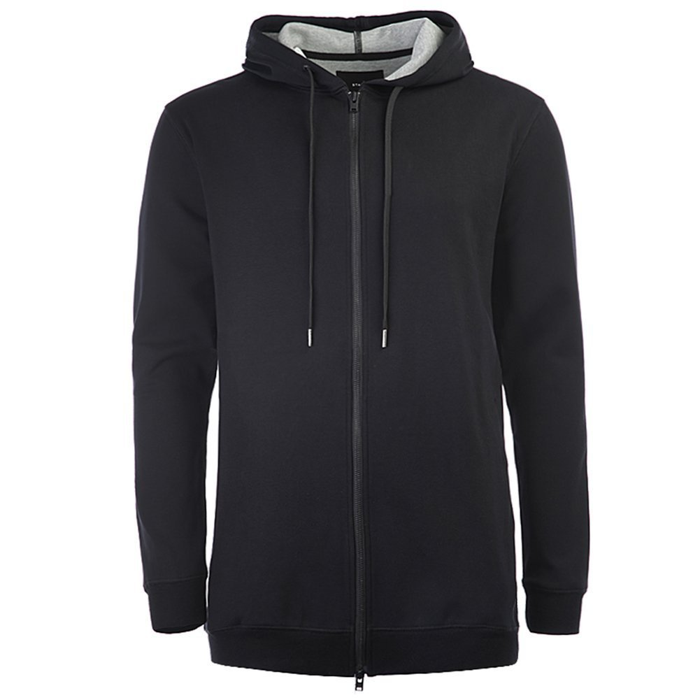 STAMPD Men's Elongated Neoprene Zip Up SLA-M891HD Black SZ L