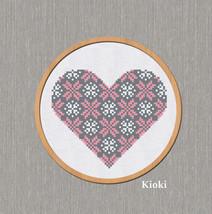 Cross Stitch Pattern Pink Gray Heart - $4.50