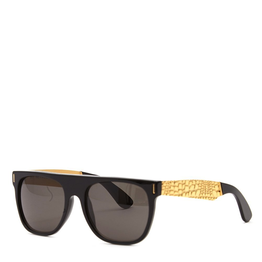 Super Unisex Flat Top Francis Goggrato Sunglasses MXL Black Gold One Size