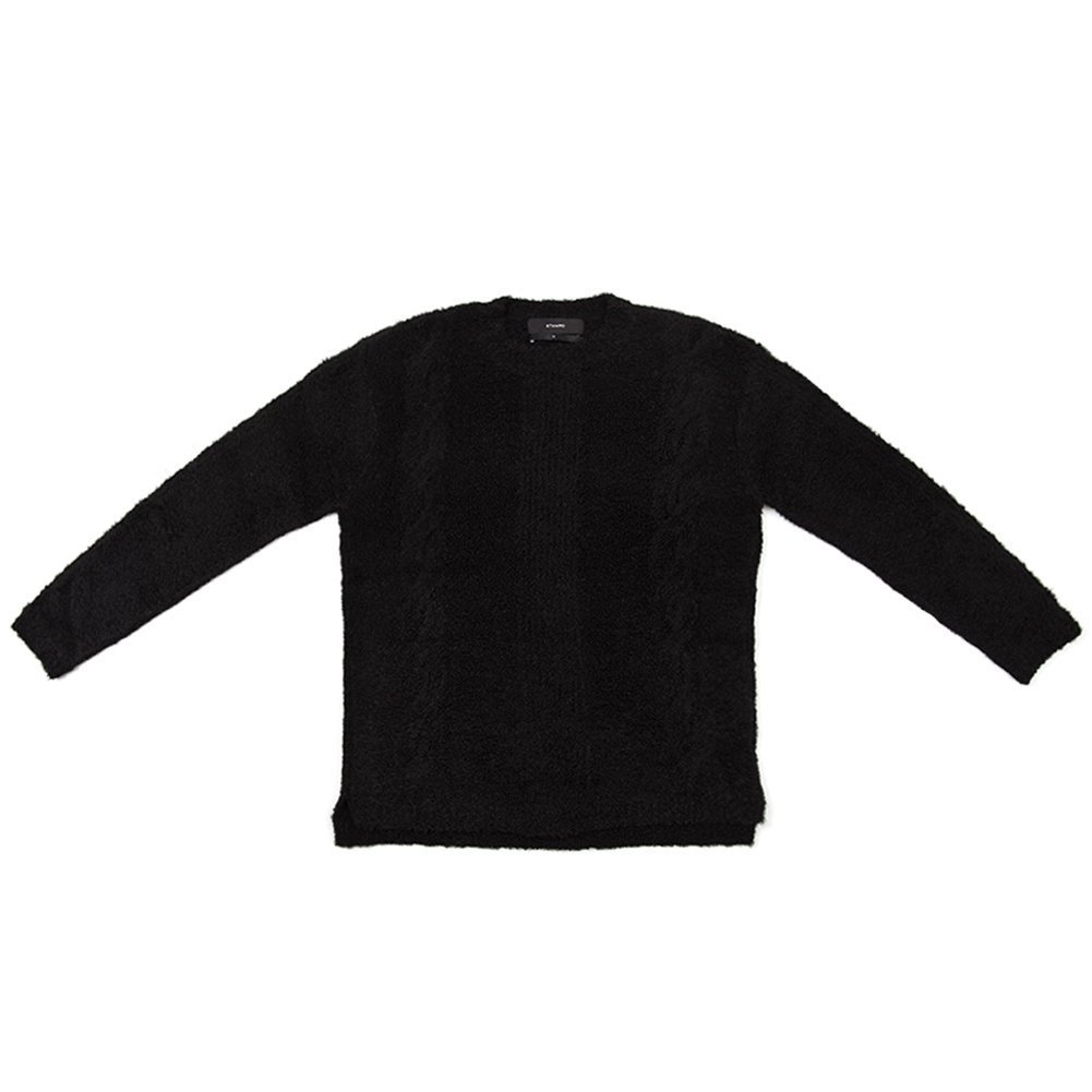 STAMPD Men's Cable Knit Alpaca Sweater SLA-M769SW-BLK Black SZ XL