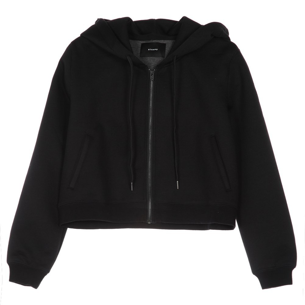 STAMPD Women's Cropped Neoprene Hooded Sweatshirt SLA-W937HD Black SZ S