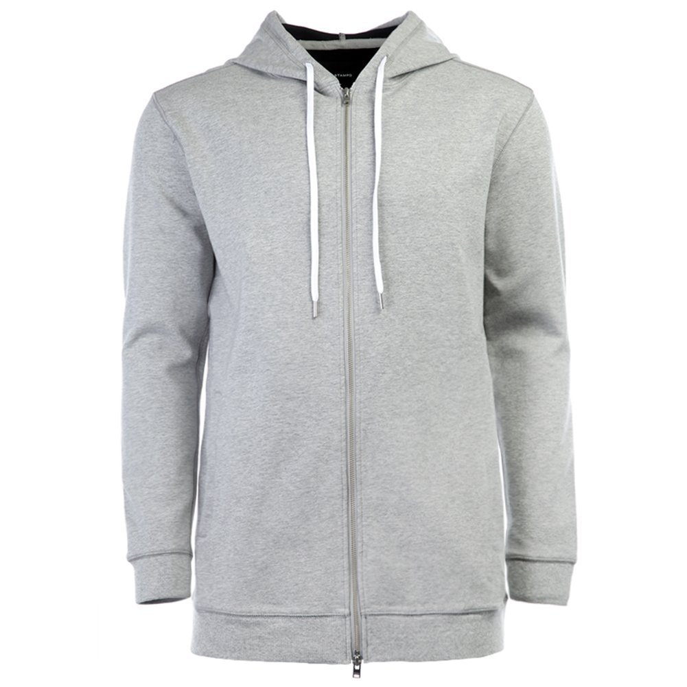 STAMPD Men's Elongated Neoprene Zip Up SLA-M891HD Grey SZ L