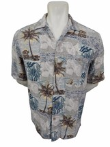 Woolrich Abstract Palm Tree Hawaiian Shirt Size L Silk Cotton Mix Button... - $19.75