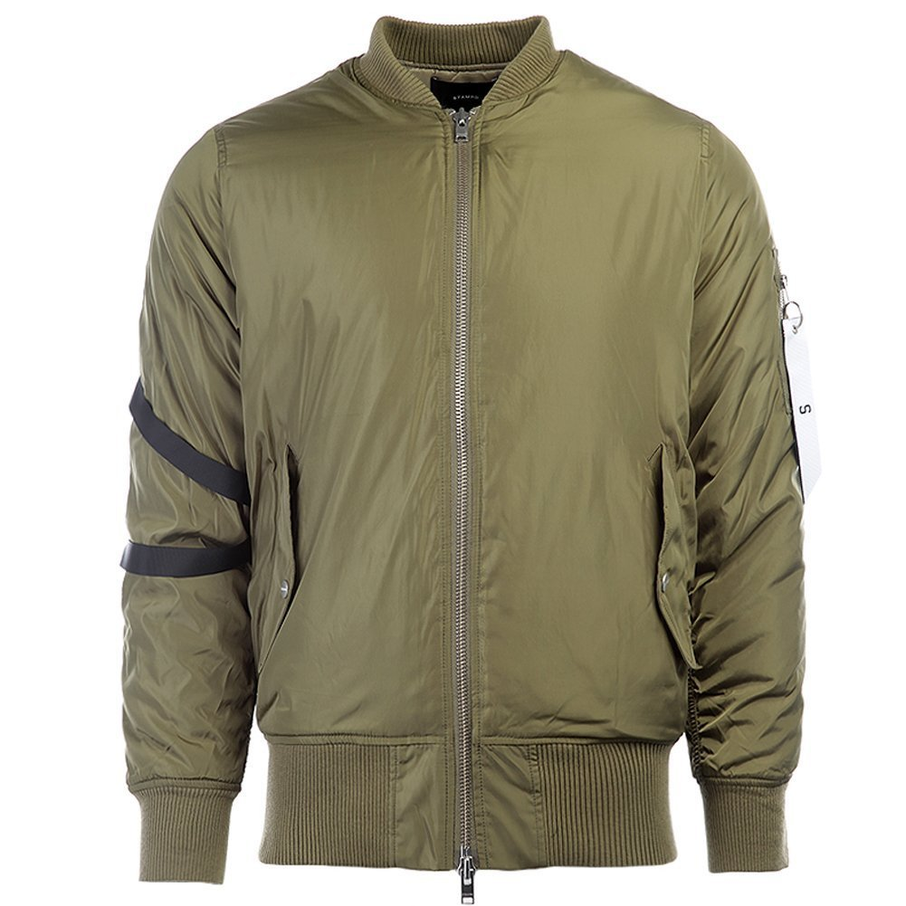 STAMPD Men's Strapped Bomber Jacket SLA-M312JK Fatigue Olive SZ XL