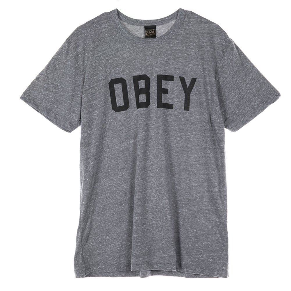 Obey Men's Collegiate T-Shirt 164190339 Heather Grey SZ M