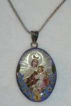 Sterling Silver Virgin Mary Pendant and Chain N... - $46.74