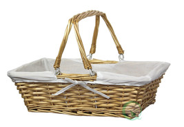 New Vintiquewise Rectangular Willow Basket with White Fabric Lining, QI0... - $16.96