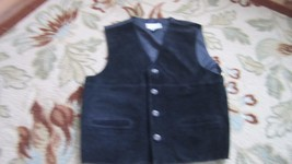 Arizona Jean Co. Black Suede Leather Vest (4) Four Button Front, Size Medium - $18.55