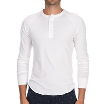 Save Khaki Men's L/S Pointelle Henley Shirt SK013-PT White SZ S - $77.58