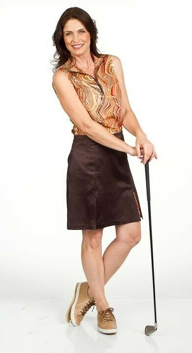 "20"" Longer Stylish Brown Golf Skort with Animal Print Shortie - New - GoldenWear image 2"
