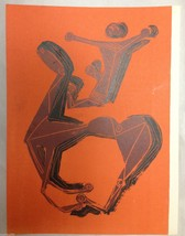 Marino Marini 1955 Orange Original Lithograph Print Horse Rider Modern Art Rare! - $950.00