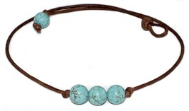 3 Triple Turquoise Bead Genuine Leather Cord Ch... - $12.50
