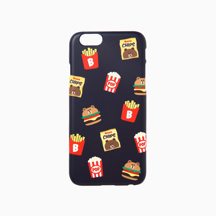 LINE Friends Navy Burger & Chips iPhone Hard Case SE/5/5s/6/6s/Plus Cover Mobile